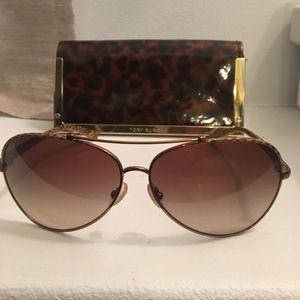 Tory Burch Brown Snakeskin Aviator Sunglasses
